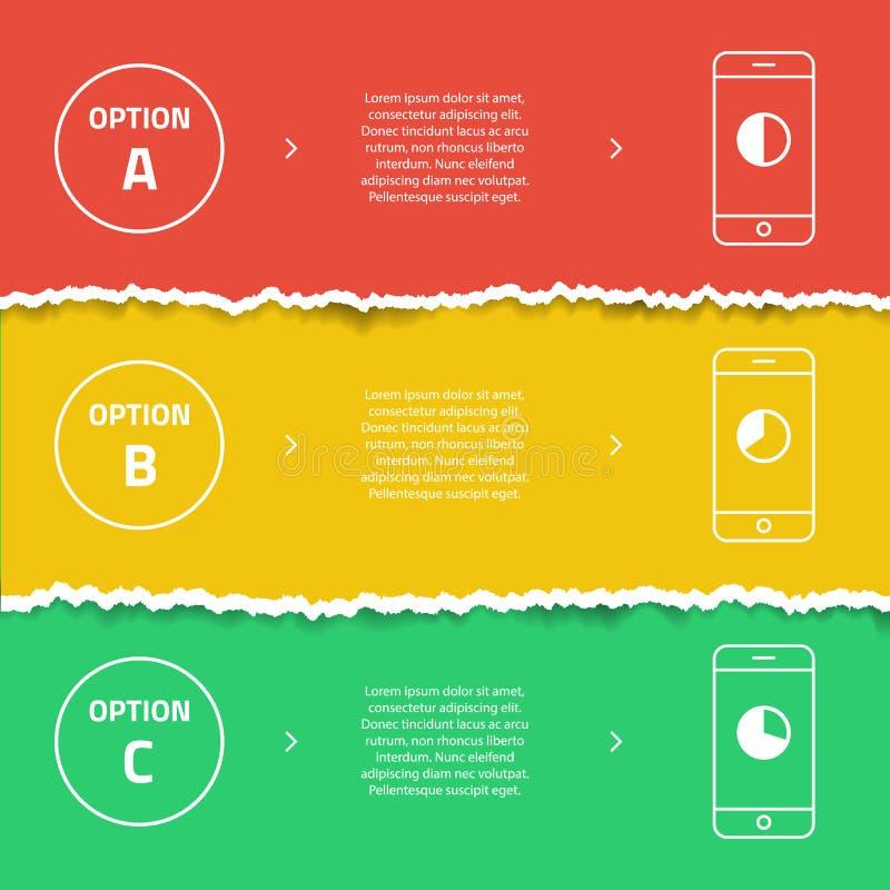 Plantilla del gráfico de la información del color Papel rasgado Banderas elegantes de la promoción del teléfono ilustración del vector