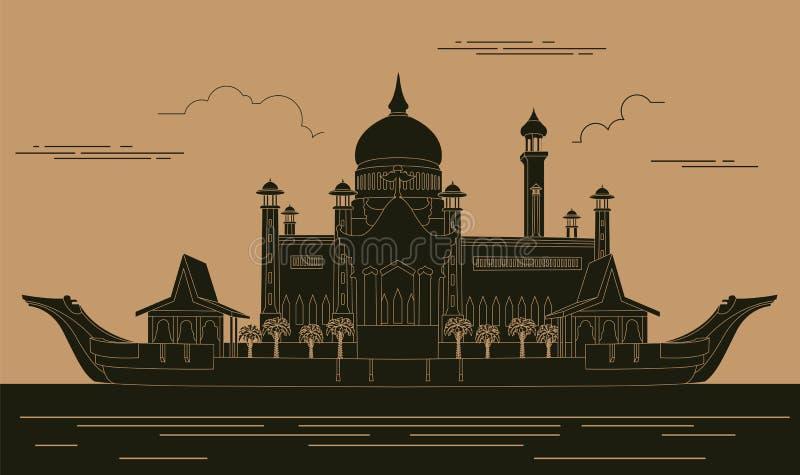 Plantilla del gráfico de los edificios de la ciudad Mezquita de Sultan Omar brunei libre illustration