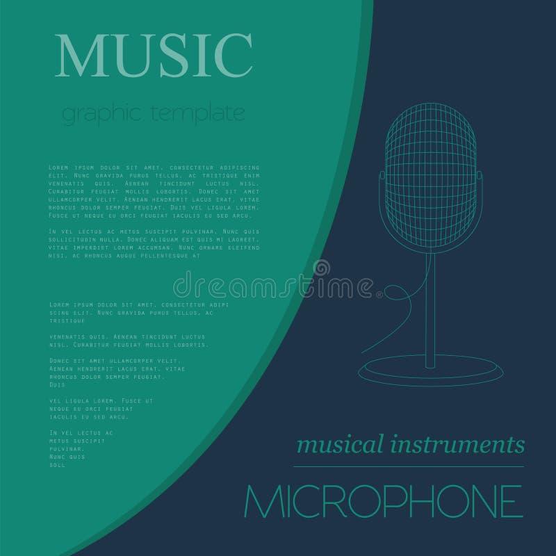 Plantilla del gráfico de los instrumentos musicales Micrófono ilustración del vector