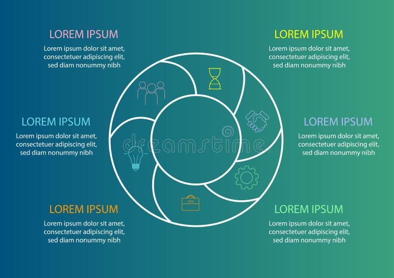 Plantilla del gráfico de sectores - circunde el diagrama para el informe de negocios o la presentación Estadísticas libre illustration