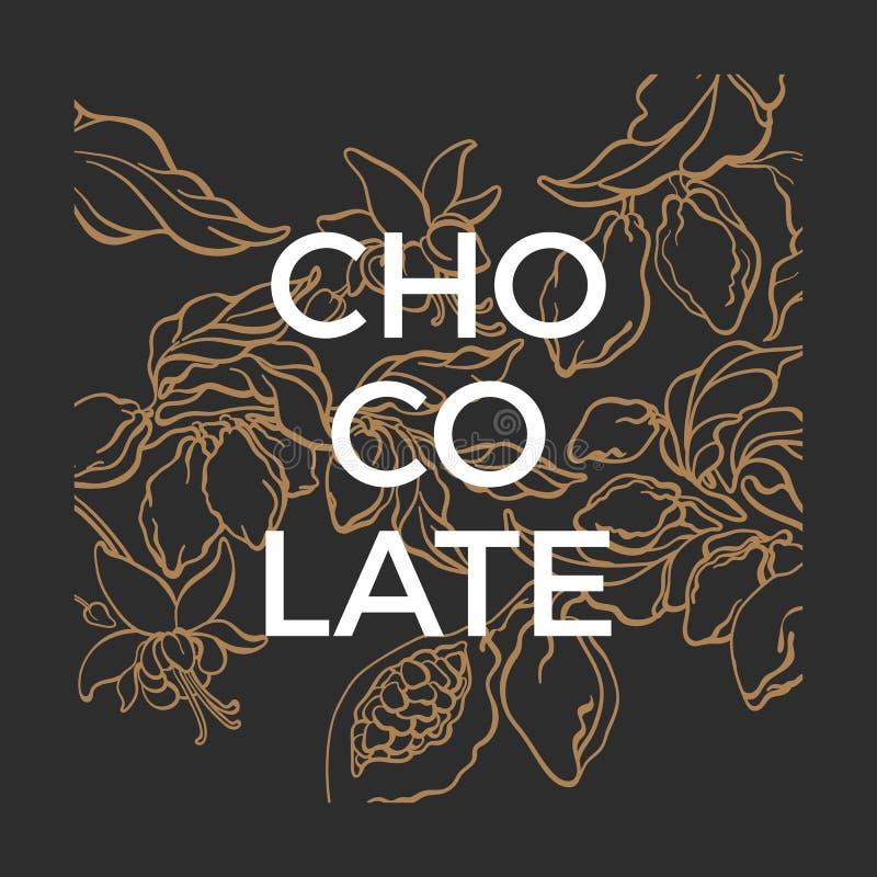 Plantilla del gráfico de vector Ejemplo de la naturaleza del chocolate Árbol de cacao libre illustration
