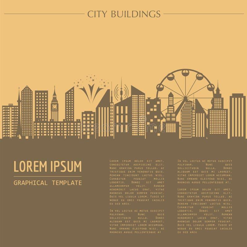 Plantilla del gráfico del paisaje urbano Configuración moderna de la ciudad Vector la enfermedad ilustración del vector