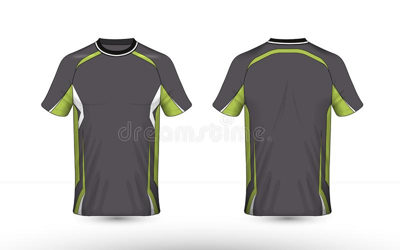 Plantilla del gris, verde y blanca de la disposición del e-deporte de la camiseta del diseño ilustración del vector