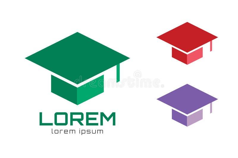 Plantilla del icono del logotipo del sombrero del casquillo de la graduación universidad stock de ilustración