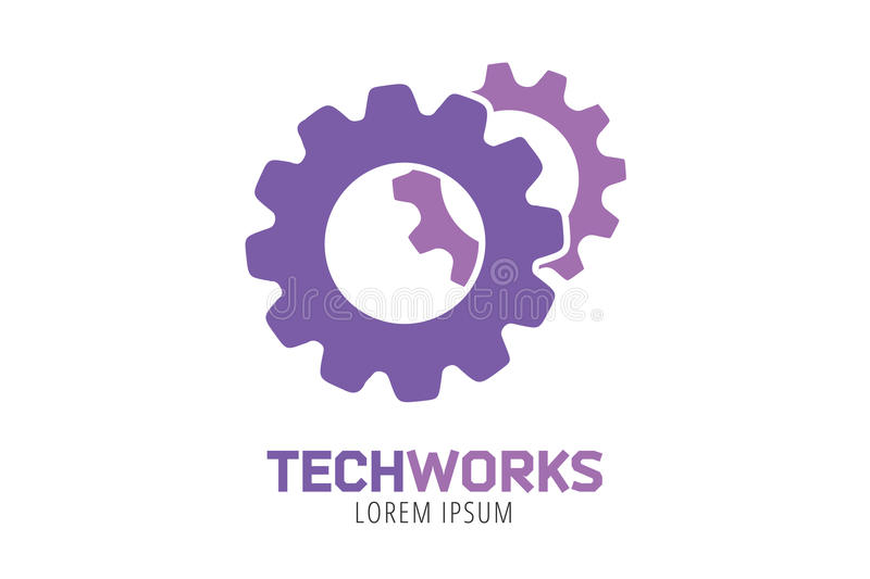 Plantilla del icono del logotipo del vector del engranaje Máquina, progreso