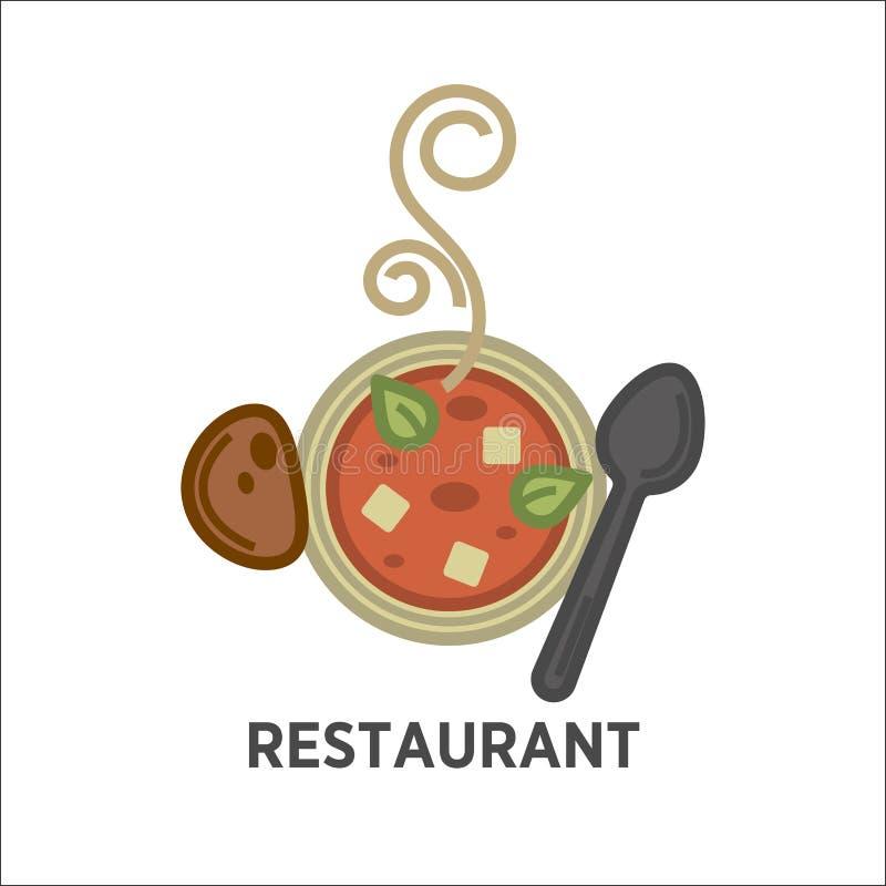 Plantilla del icono del restaurante de la placa de sopa del vector ilustración del vector