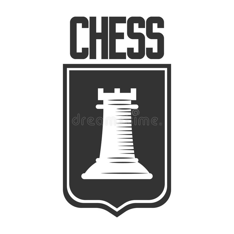 Plantilla del icono del vector del club de ajedrez de la pieza de ajedrez del castillo del grajo en el escudo heráldico ilustración del vector