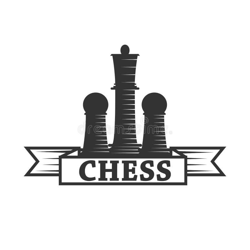 Plantilla del icono del vector del club de ajedrez del rey de la pieza de ajedrez y grajo o empeño ilustración del vector