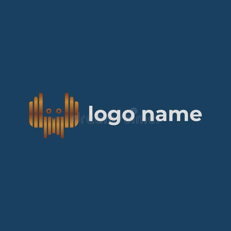 Plantilla del icono del logotipo del búho con el texto de la muestra stock de ilustración