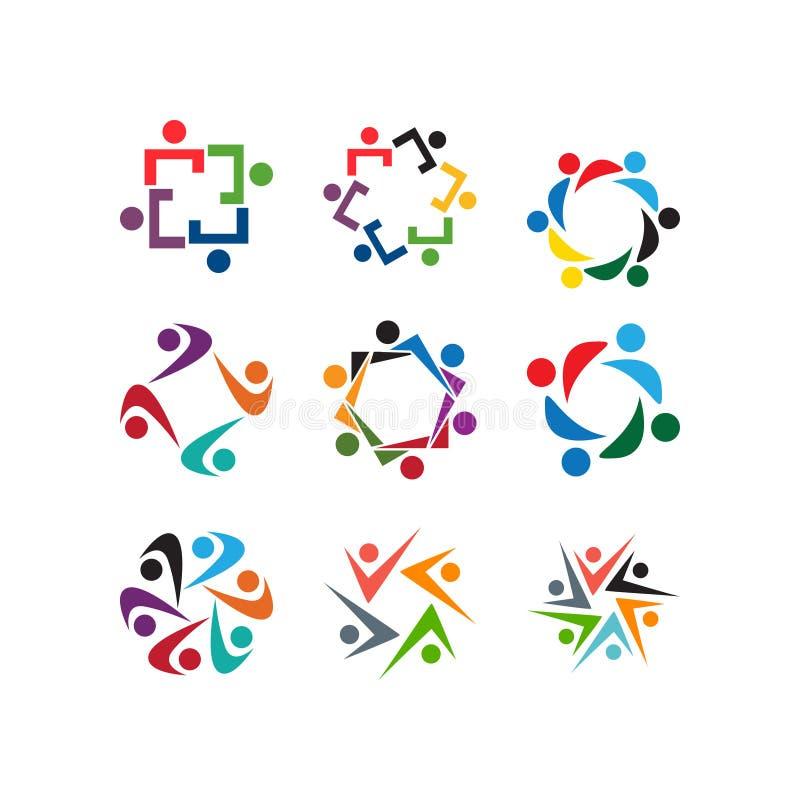 Plantilla del icono del logotipo de la organización de gente de la comunidad libre illustration
