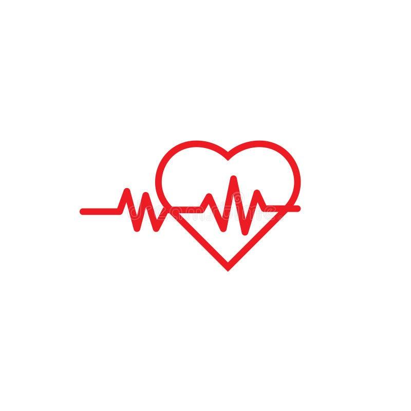 Plantilla del icono del logotipo del pulso del corazón stock de ilustración