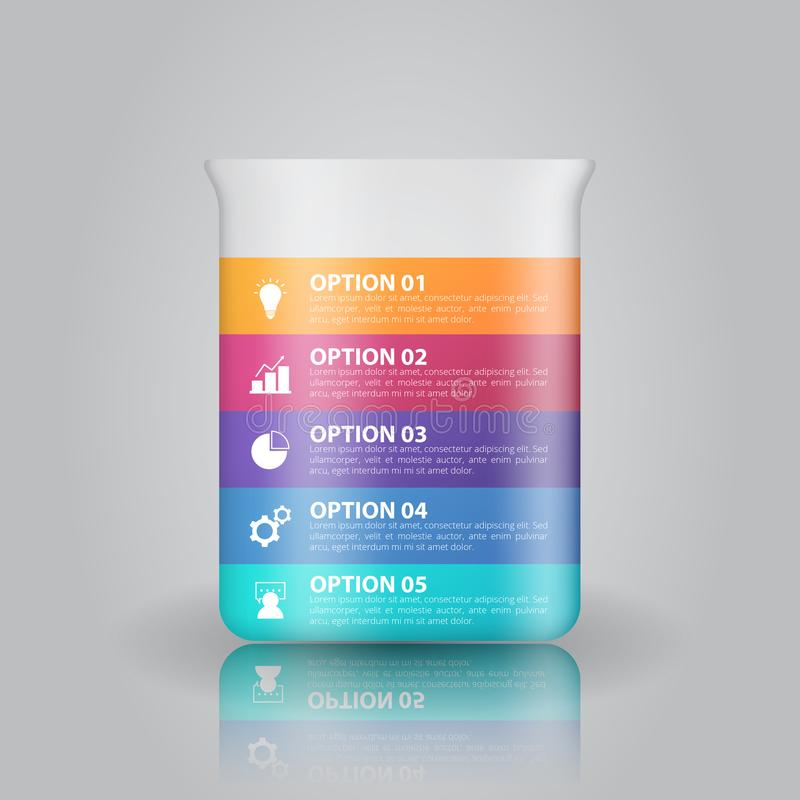Plantilla del infographics de la cristalería de laboratorio para el negocio, educación, diseño web, banderas, folletos, aviadores libre illustration