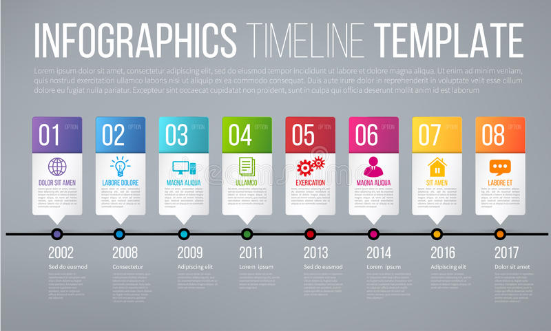 Plantilla del infographics de la cronología o de las opciones con 8 pasos stock de ilustración