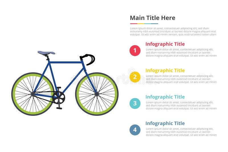 Plantilla del infographics de la velocidad del deporte de la bicicleta con 4 puntos de la descripción del texto del espacio libre ilustración del vector