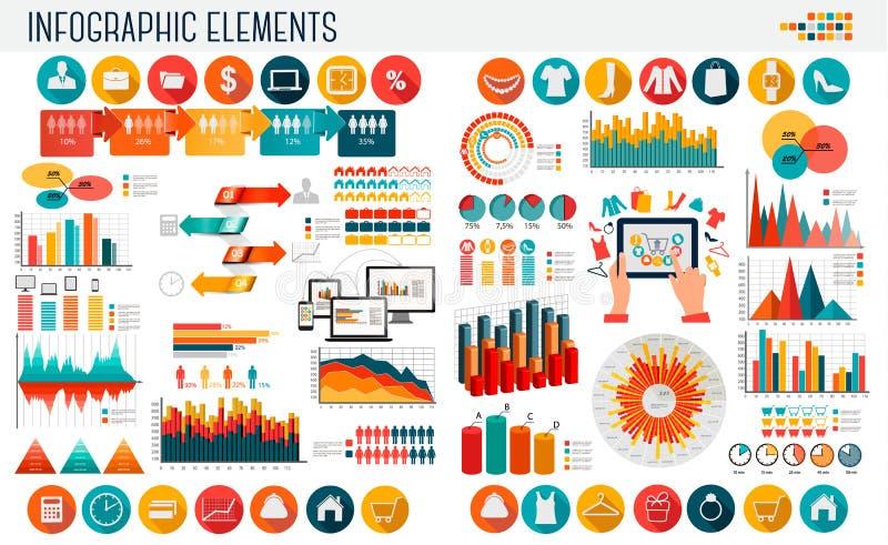 Plantilla del infographics del negocio y de las compras ilustración del vector