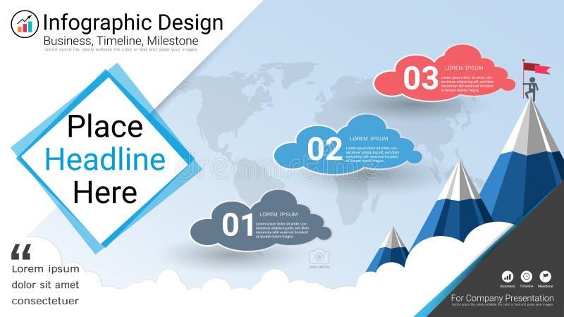 Plantilla del infographics del negocio, cronología del jalón o mapa de camino con opciones del organigrama de proceso 3 ilustración del vector