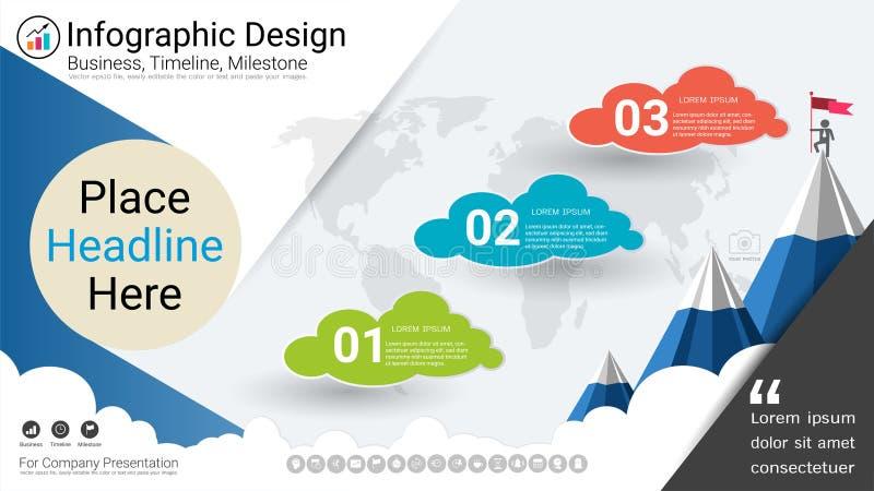 Plantilla del infographics del negocio, cronología del jalón o mapa de camino con opciones del organigrama de proceso 3 libre illustration