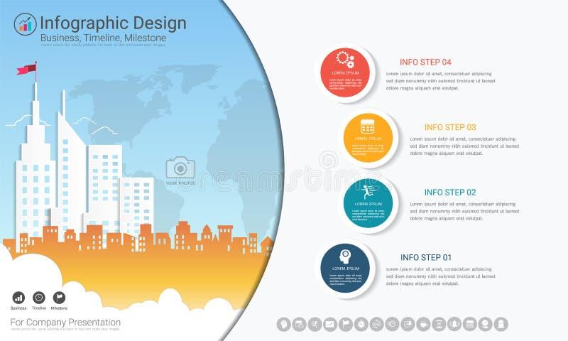 Plantilla del infographics del negocio, cronología del jalón o mapa de camino con opciones del organigrama de proceso 4 libre illustration