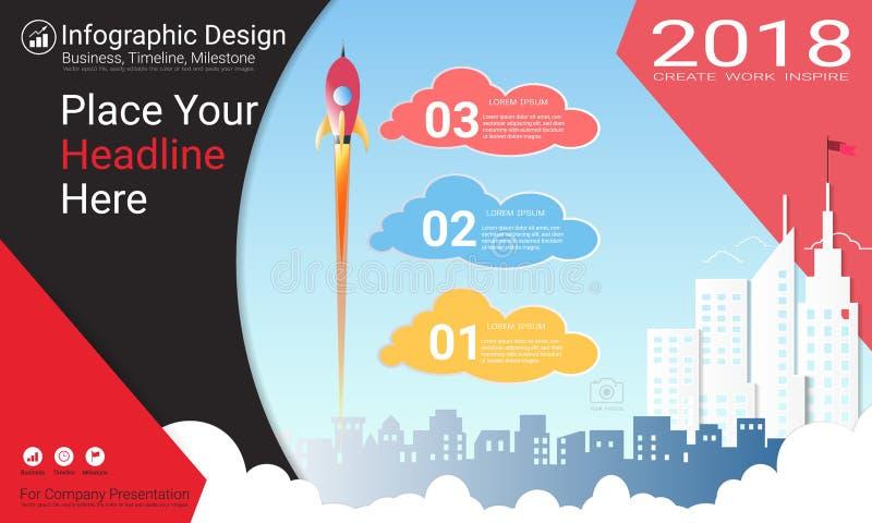 Plantilla del infographics del negocio, cronología del jalón o mapa de camino con opciones del organigrama de proceso 3 stock de ilustración