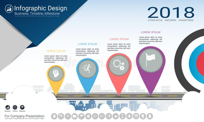 Plantilla del infographics del negocio, cronología del jalón o mapa de camino con opciones del organigrama de proceso 4 ilustración del vector