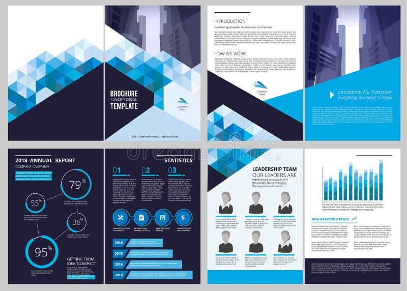 Plantilla del informe anual Disposición de diseño financiera del vector del folleto del negocio de la portada de revista del docu ilustración del vector