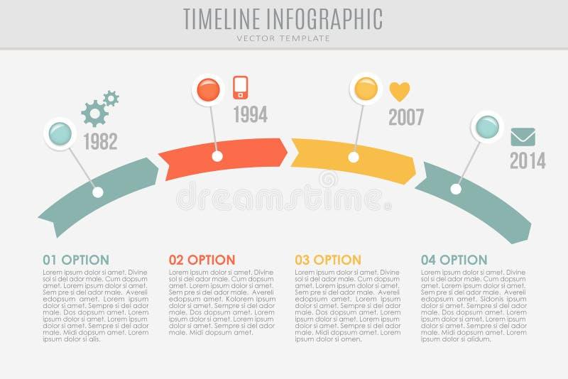 Plantilla del informe de la cronología con los botones y los iconos, libre illustration