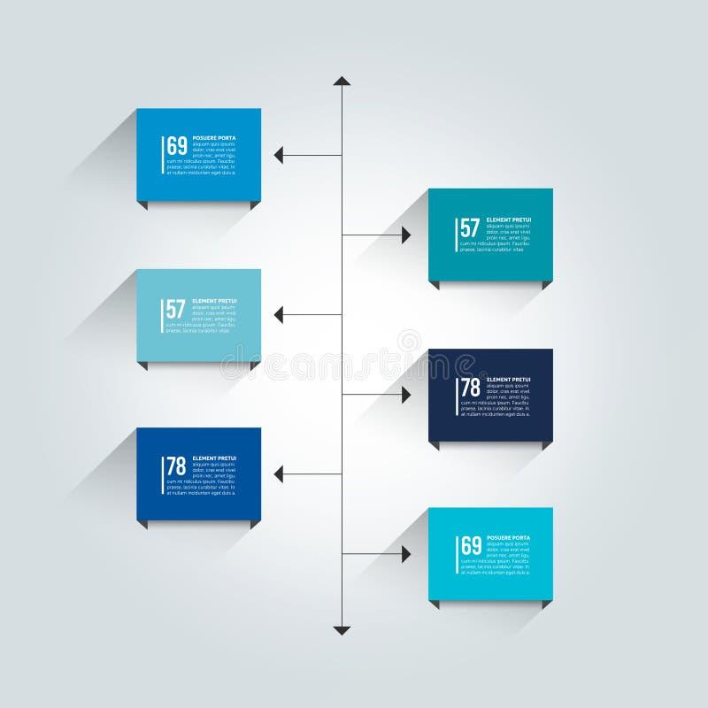 Plantilla del informe de la cronología Esquema de la sombra del color, diagrama stock de ilustración