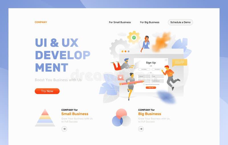 Plantilla del jefe del desarrollo de UI y de UX ilustración del vector