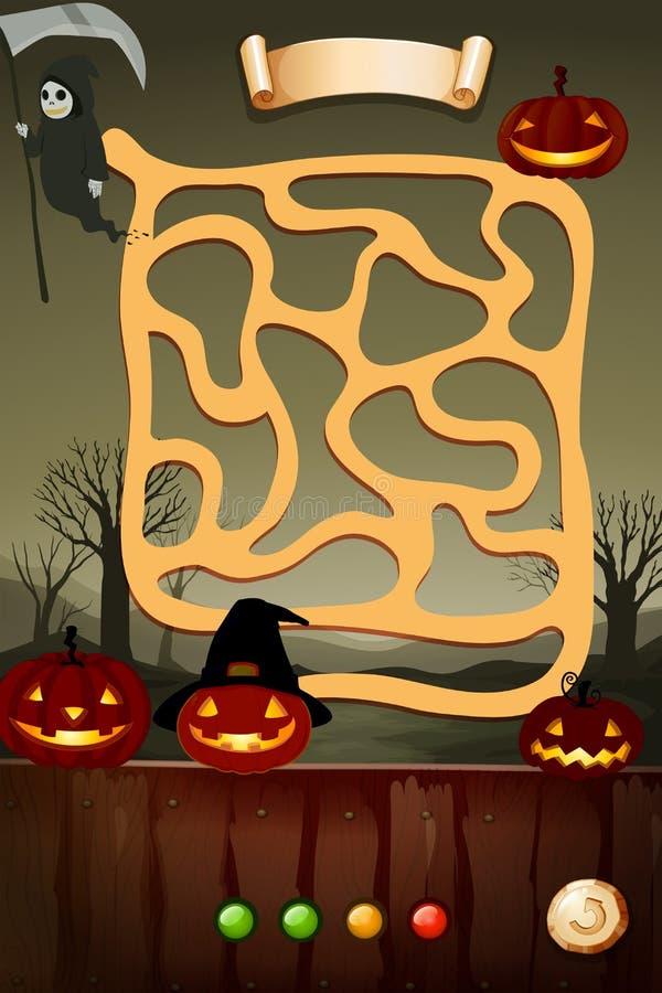 Plantilla del juego con el tema de Halloween ilustración del vector