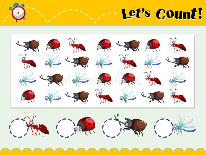 Plantilla del juego con la cuenta de insectos ilustración del vector