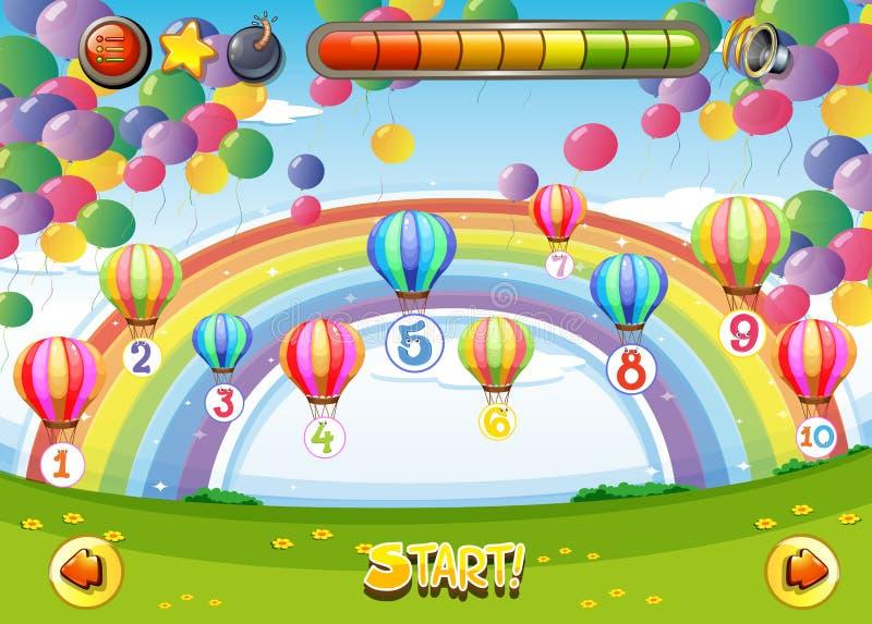 Plantilla del juego con los globos y los números ilustración del vector