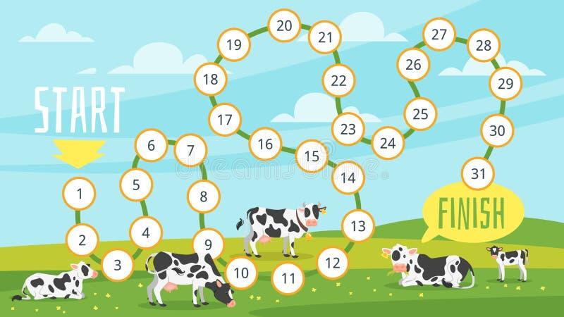 plantilla del juego de mesa de la granja stock de ilustración