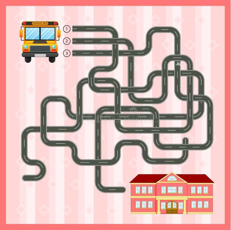 Plantilla del juego del laberinto con el autobús escolar libre illustration