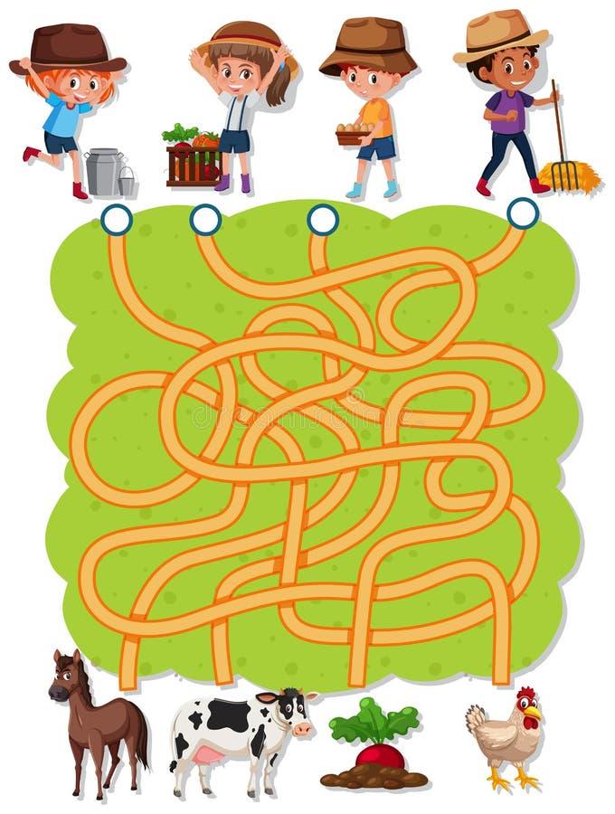 Plantilla del juego del laberinto del granjero stock de ilustración