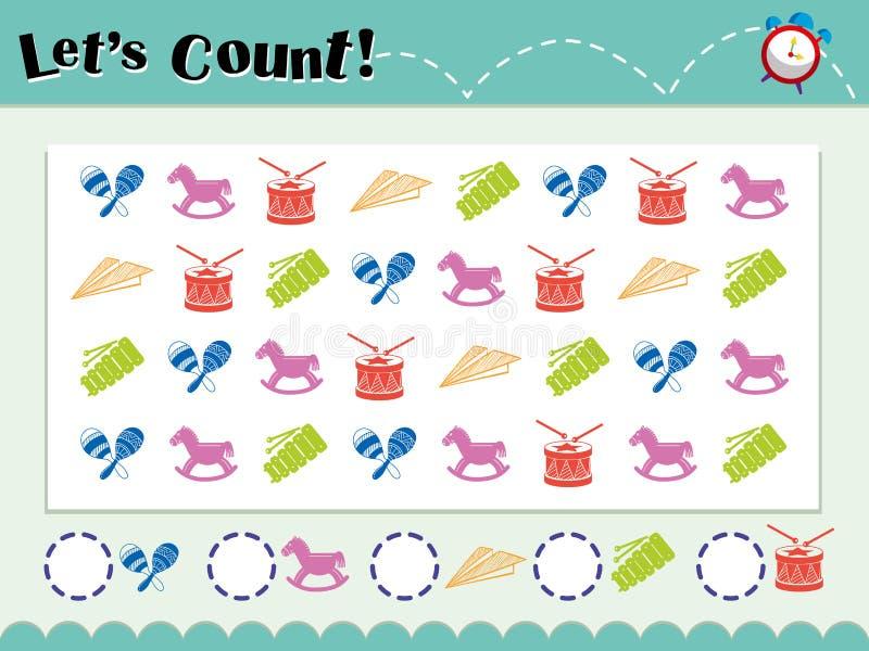 Plantilla del juego para contar objetos ilustración del vector