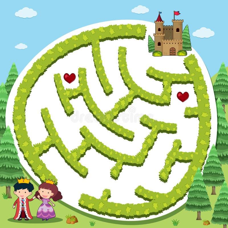 Plantilla del juego del rompecabezas con el príncipe y la princesa stock de ilustración