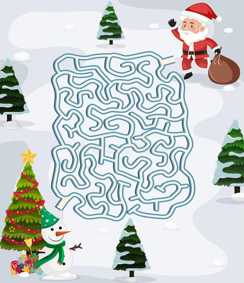 Plantilla del juego del rompecabezas del laberinto de la Navidad stock de ilustración