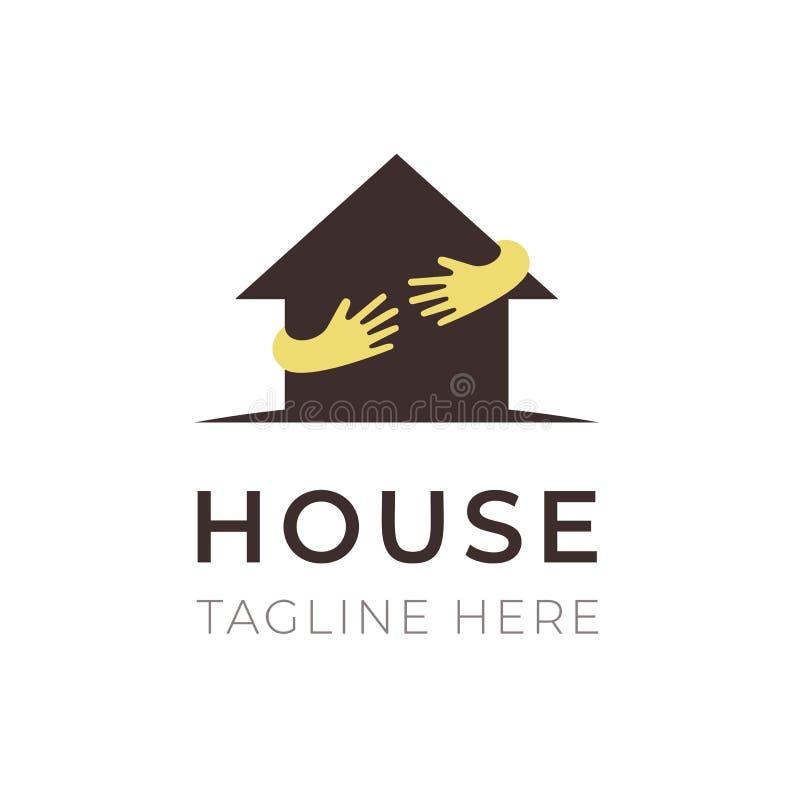 Plantilla del logotipo del abrazo de las manos de la casa Símbolo del negocio, concepto de las propiedades inmobiliarias Diseño c libre illustration