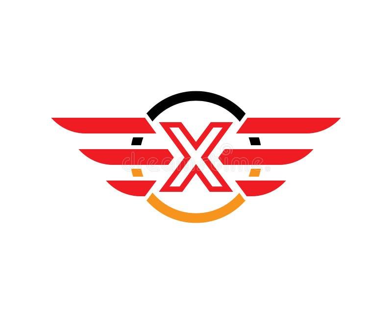 Plantilla del logotipo del ala de la letra inicial X stock de ilustración