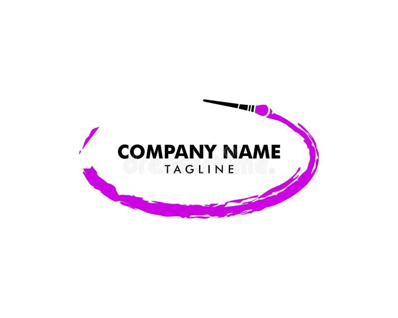 Plantilla del logotipo del artista de maquillaje de la belleza con el movimiento texturizado del cepillo del rimel stock de ilustración