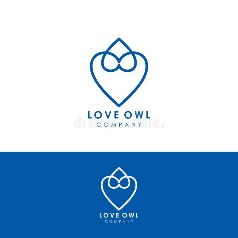 plantilla del logotipo del búho del amor, vector del diseño, icono stock de ilustración