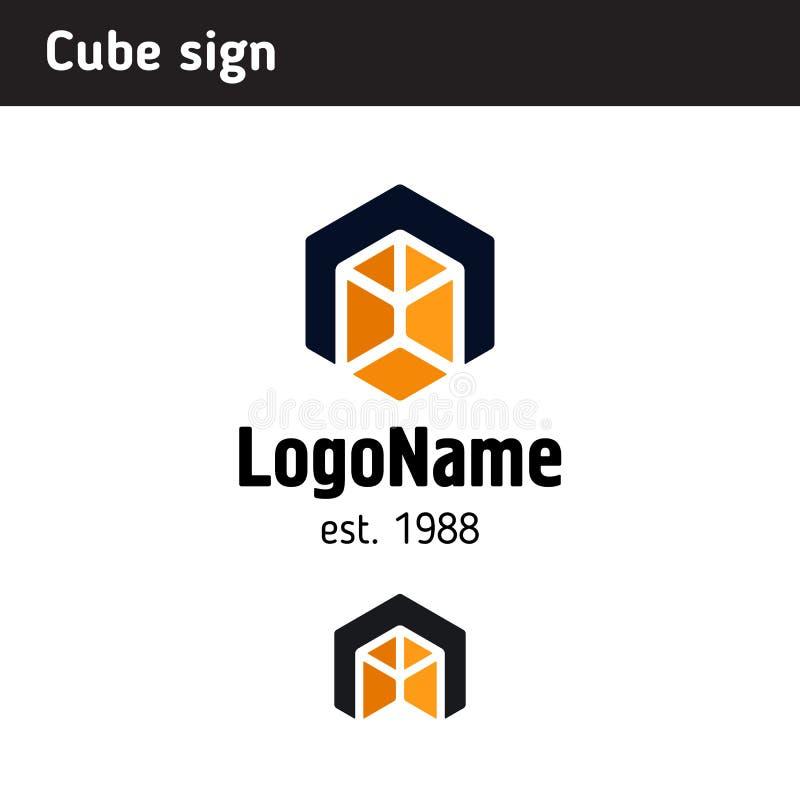 Plantilla del logotipo bajo la forma de cubo libre illustration