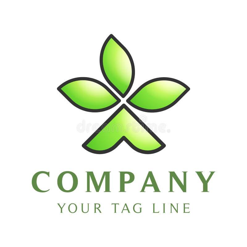 Plantilla del logotipo bajo la forma de tienda de la tienda con tres hojas en ella stock de ilustración