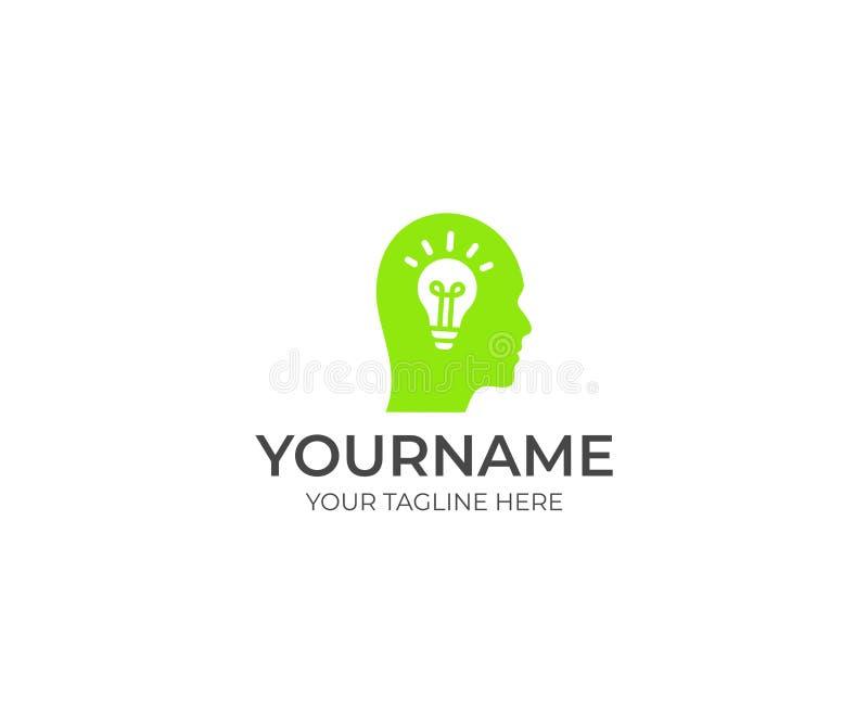 Plantilla del logotipo del bulbo de la cabeza humana y del cerebro Idea creativa y bombilla con del diseño principal del vector libre illustration