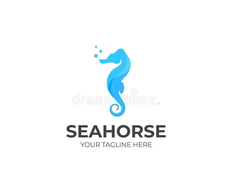 Plantilla del logotipo del caballo de mar Diseño del vector de Sealife ilustración del vector