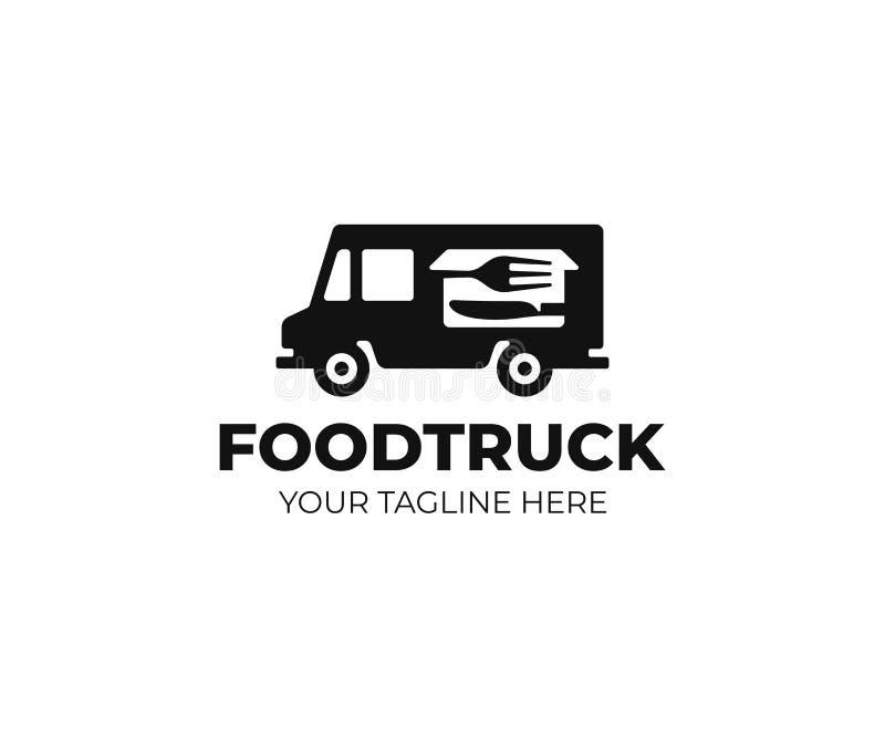 plantilla del logotipo del camión de la comida Diseño del vector del carro de la comida de la calle stock de ilustración
