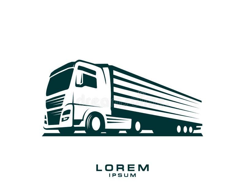 Plantilla del logotipo del camión Un logotipo del camión en el fondo blanco stock de ilustración