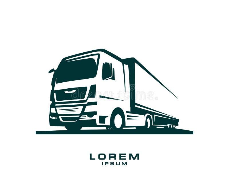 Plantilla del logotipo del camión Un logotipo del camión en el fondo blanco ilustración del vector