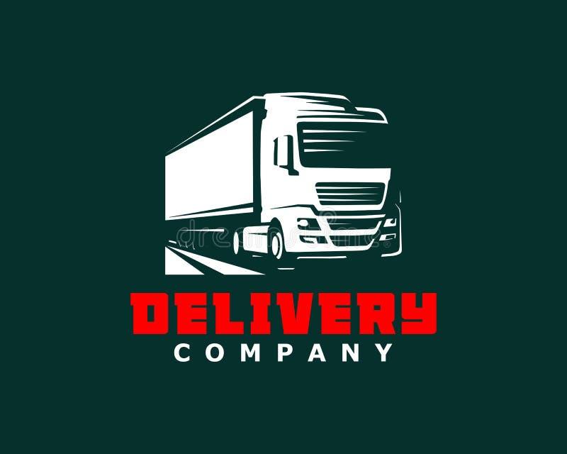 Plantilla del logotipo del camión Un logotipo del camión en fondo oscuro ilustración del vector