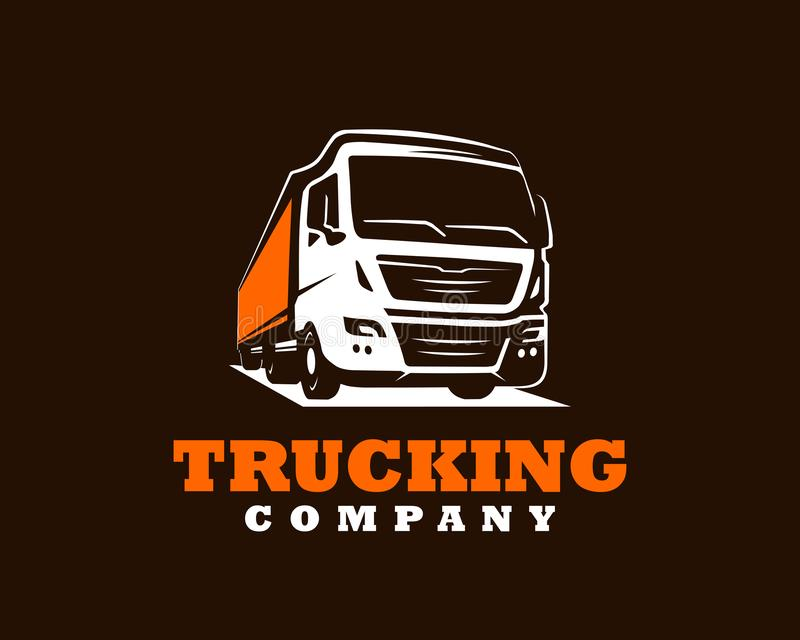 Plantilla del logotipo del camión Un logotipo del camión en fondo oscuro stock de ilustración